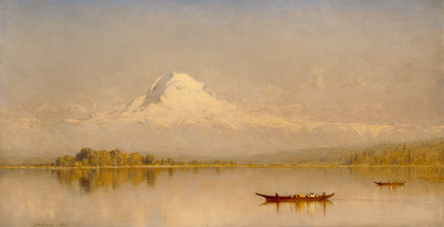 "Mount Rainier, Bay of Tacoma"" - (Puget Sound, 1875) by Sanford Robinson Gifford"