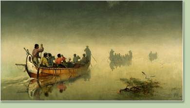 Frances Anne Hopkins Canoes in a fog Lake Superior 1869