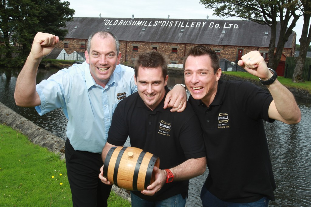 BUSHMILLS™ Irish Whiskey Master Distiller Colum Egan is pictured with the winners of Make it 2 Bushmills, South Africans, Jonathan Oliff and Sean Tickner.