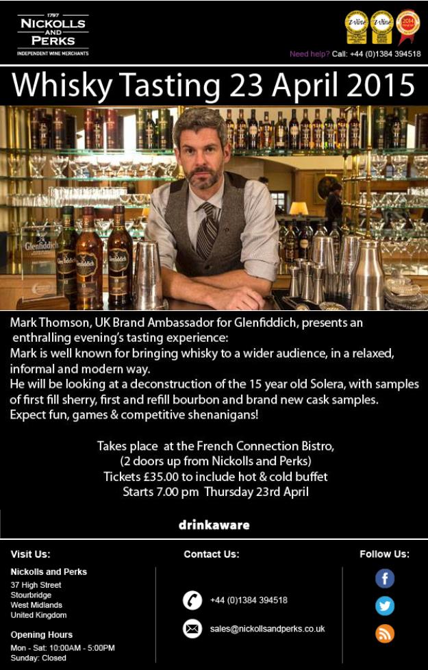 Nickolls and Perks Glenfiddich tasting