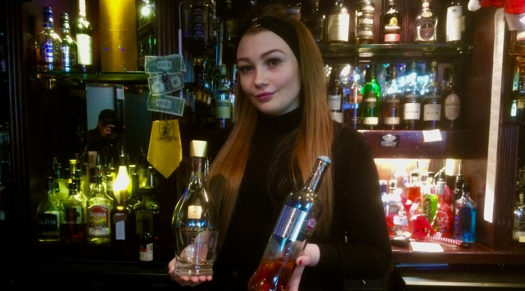 the lovely Alana at the whisky cellar bar Oban
